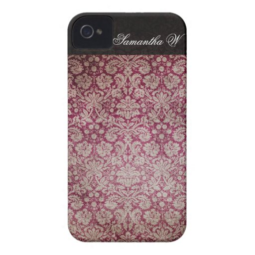 Vintage Damask Wine, Personalized iPhone Case Case-Mate iPhone 4 Cases