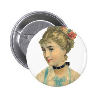 Vintage Damzel Pinback Button