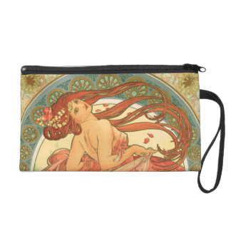 Vintage Dance by Alphonse Mucha Wristlet Purse