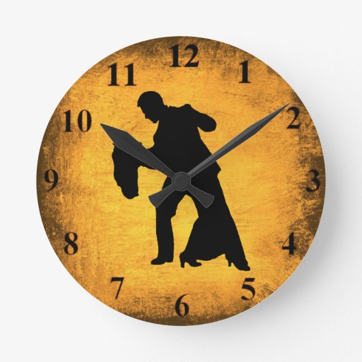 vintage dance couple silhouette wall clock zazzle. Black Bedroom Furniture Sets. Home Design Ideas