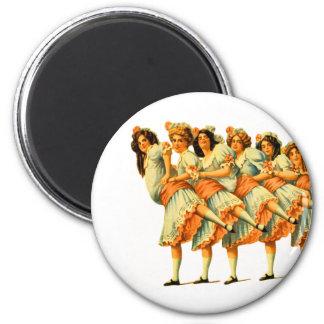 Vintage Dance Dancing Girls Dancers Vaudeville 2 Inch Round Magnet