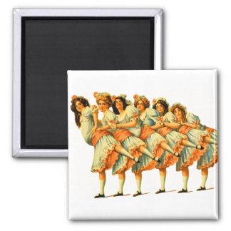 Vintage Dance Dancing Girls Dancers Vaudeville 2 Inch Square Magnet