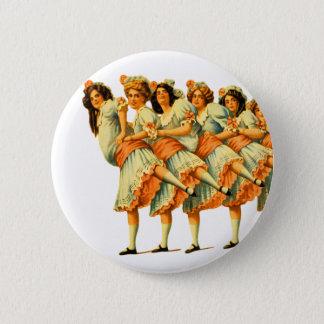 Vintage Dance Dancing Girls Dancers Vaudeville Button