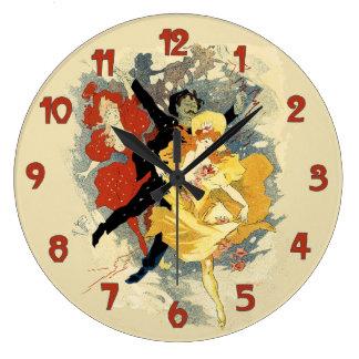 Vintage Dance Hall 1894 Poster Art Large Clock
