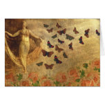 Vintage Dancer with Sheet Music and Butterflies Card