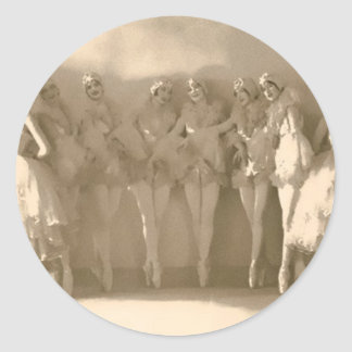 Vintage dancers on tiptoe, with tule classic round sticker