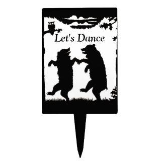 Vintage Dancing Bears Black Silhouette Trees Owl Cake Topper