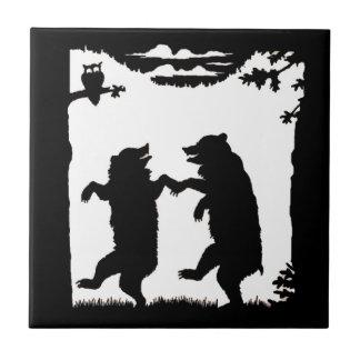 Vintage Dancing Bears Black Silhouette Trees Owl Ceramic Tile