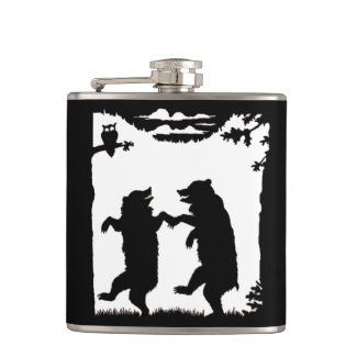 Vintage Dancing Bears Black Silhouette Trees Owl Flask