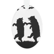 Vintage Dancing Bears Black Silhouette Trees Owl Ornament