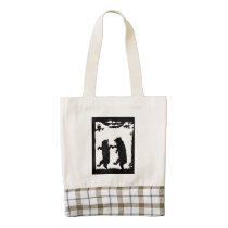 Vintage Dancing Bears Black Silhouette Trees Owl Zazzle HEART Tote Bag