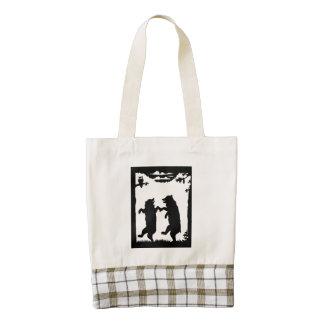 Vintage Dancing Bears Black Silhouette Trees Owl Zazzle HEART Tote Bag