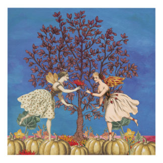 Vintage Dancing Fairy Friends Pumpkin Patch Flower Panel Wall Art