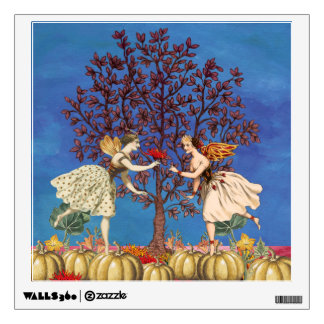 Vintage Dancing Fairy Friends Pumpkin Patch Flower Wall Decal