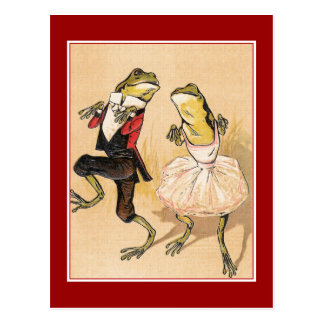 Vintage Dancing Frogs Postcard
