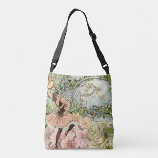 Vintage Dancing Gypsy with Flowers and Ephemera Crossbody Bag