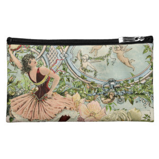 Vintage Dancing Gypsy with Flowers and Ephemera Makeup Bag