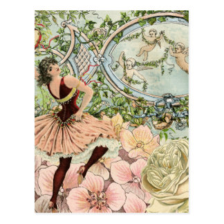Vintage Dancing Gypsy with Flowers and Ephemera Postcard