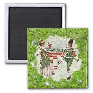 Vintage Dancing Irish Couple 2 Inch Square Magnet