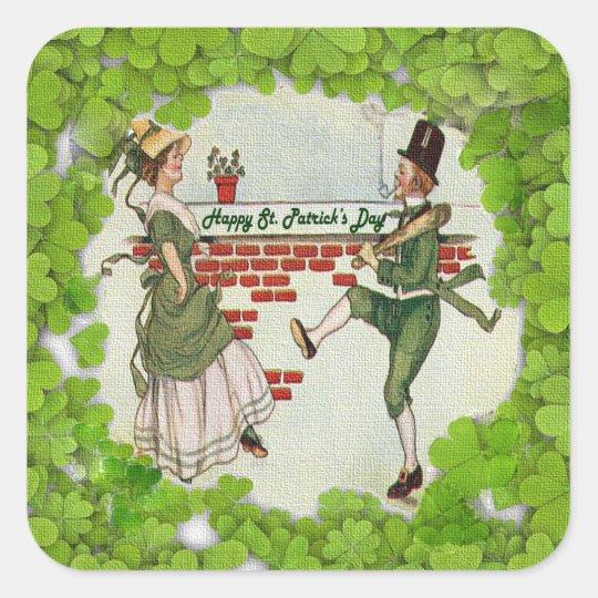 Vintage Dancing Irish Couple Square Sticker