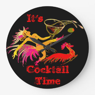 Vintage Dancing Lady Martini Rooster Cocktails Bar Round Clock