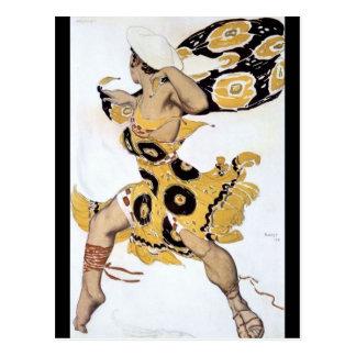Vintage Dancing Woman in Yellow Postcard