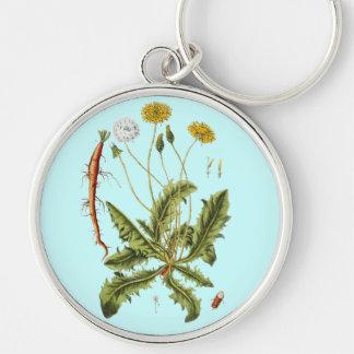 Vintage Dandelion Illustration Silver-Colored Round Keychain