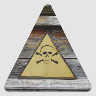 Vintage Danger Sign On Rustic Wood Triangle Sticker