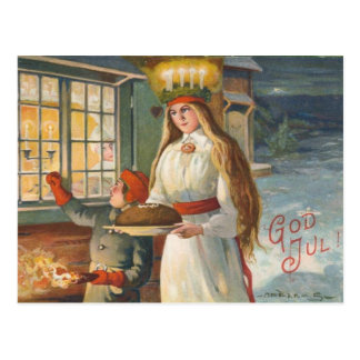 Vintage Danish Christmas God Jul Postcard