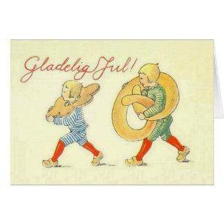Vintage scandinavian christmas greeting cards zazzle vintage danish gladelig jul christmas card m4hsunfo
