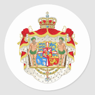 Vintage Danish Royal Coat of Arms of Denmark Classic Round Sticker