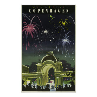 Vintage Danish Travel Poster to Copenhagen