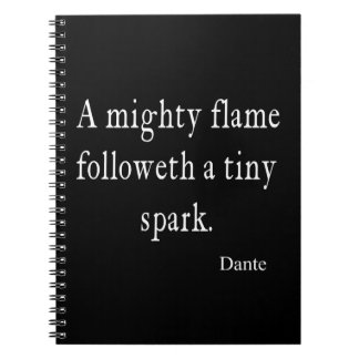 Vintage Dante Mighty Flame Tiny Spark Quote Quotes Notebook
