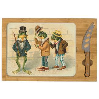 Vintage Dapper Frogs Cheese Platter