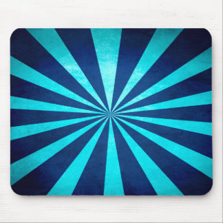 Vintage dark blue and turquoise starburst pattern, mouse pad