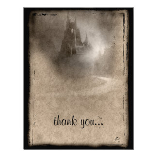 Vintage Dark Castle Gothic Thank You Personalized Invite