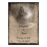 vintage dark castle gothic wedding personalized invitations medieval scroll vintage invitation - Medieval Wedding Invitations