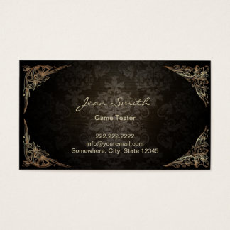 Vintage Dark Damask Game Testing Business Card