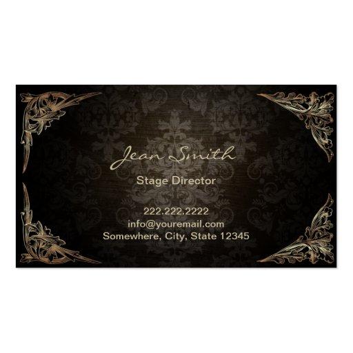 Vintage Dark Damask Stage Director Business Card Template