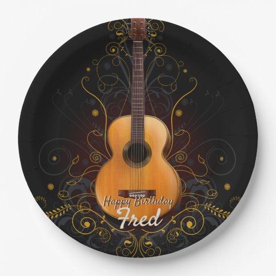 Vintage Dark Elegance Acoustic Guitar Paper Plate