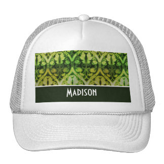 Vintage Dark Green Pattern Mesh Hats