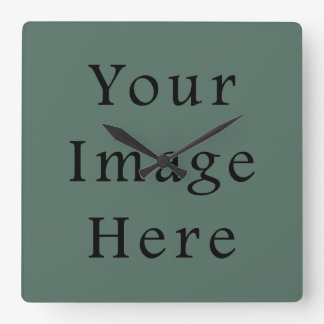 Vintage Dark Moss Green Color Trend Template Square Wall Clock