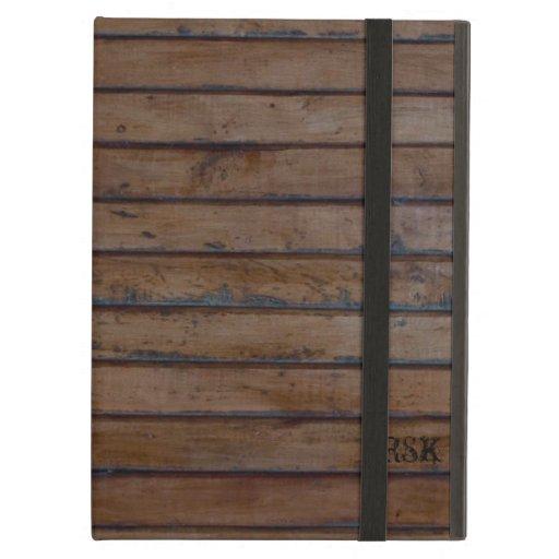 Vintage Dark Old Brown Wood Personalized iPad Covers