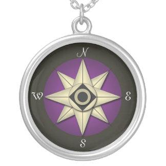 Vintage Dark Purple Compass Necklace