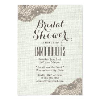 Vintage Dark Tan Lace Corner Burlap Bridal Shower Card