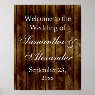 Vintage Dark Wood Plank Wedding Welcome Sign