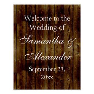 Vintage Dark Wood Plank Wedding Welcome Sign Poster