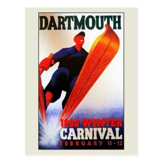 Vintage Darthmouth winter carnival ski ad Postcard