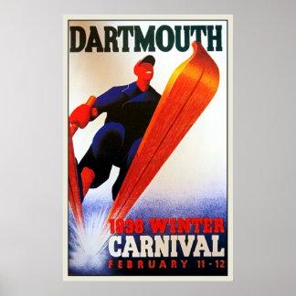 Vintage Darthmouth winter carnival ski ad Poster
