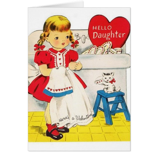 Vintage Daughter Valentine's Day Greeting Card